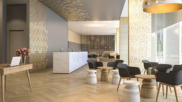 3d renderowania luksusowy hotel recepcji i salon - hotel zdjęcia i obrazy z banku zdjęć