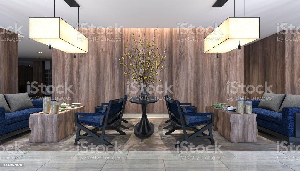 Fotografía de 3d Render Hotel Recepción Y Salón Restaurante De Lujo ...