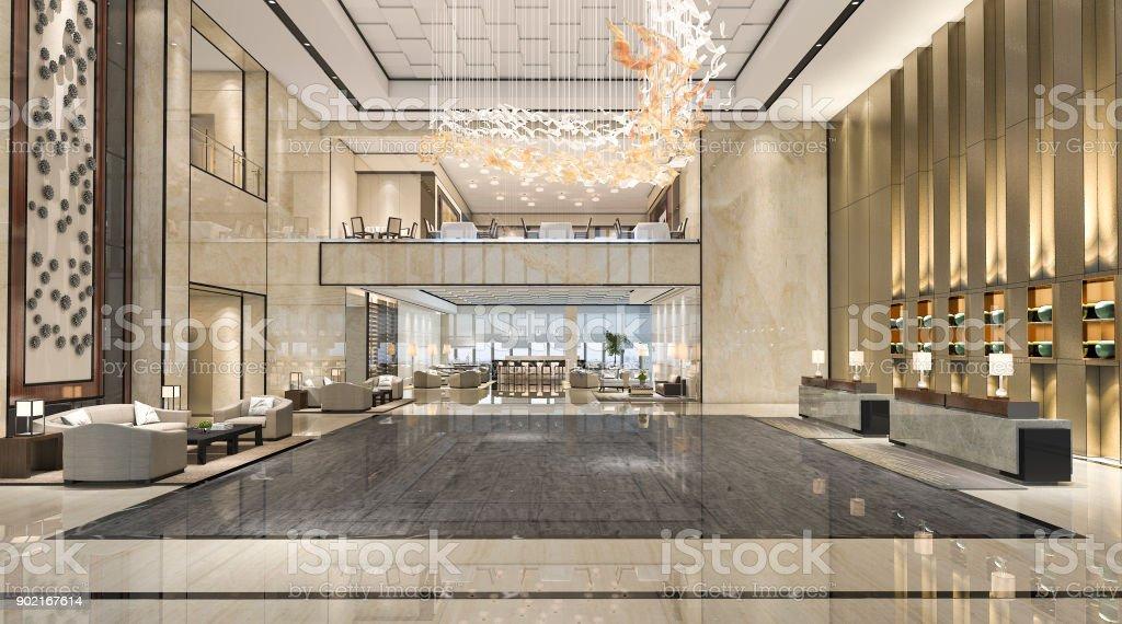 Fotografía de 3d Render Hotel Recepción Hall Y Salón Restaurante De ...