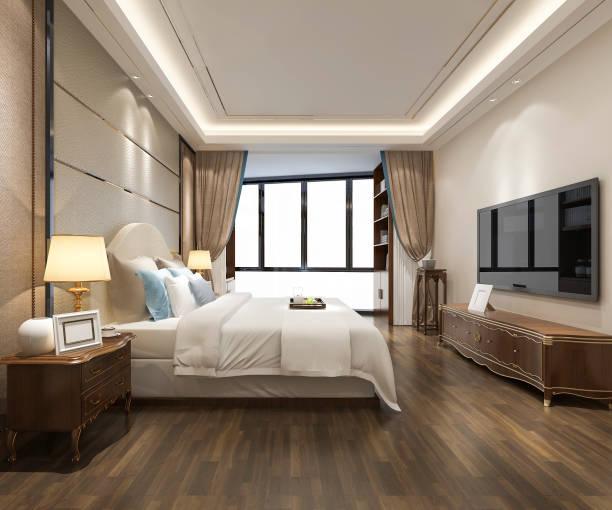 3d Rendering Luxus moderne Schlafzimmer Suite im Hotel – Foto