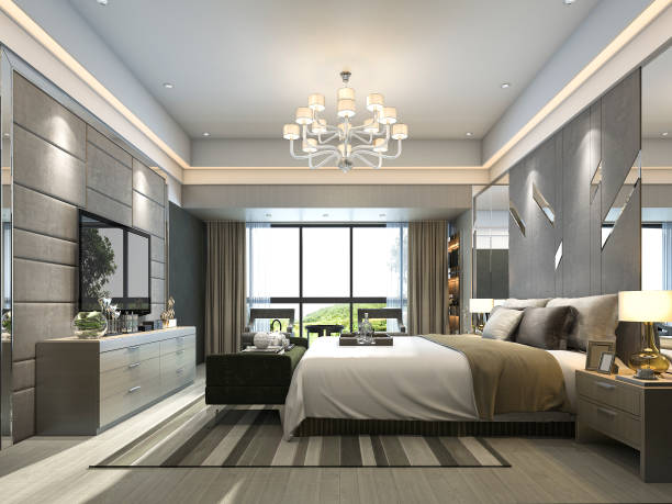 3d rendering luxury modern bedroom suite in hotel - потолок стоковые фото и изображения