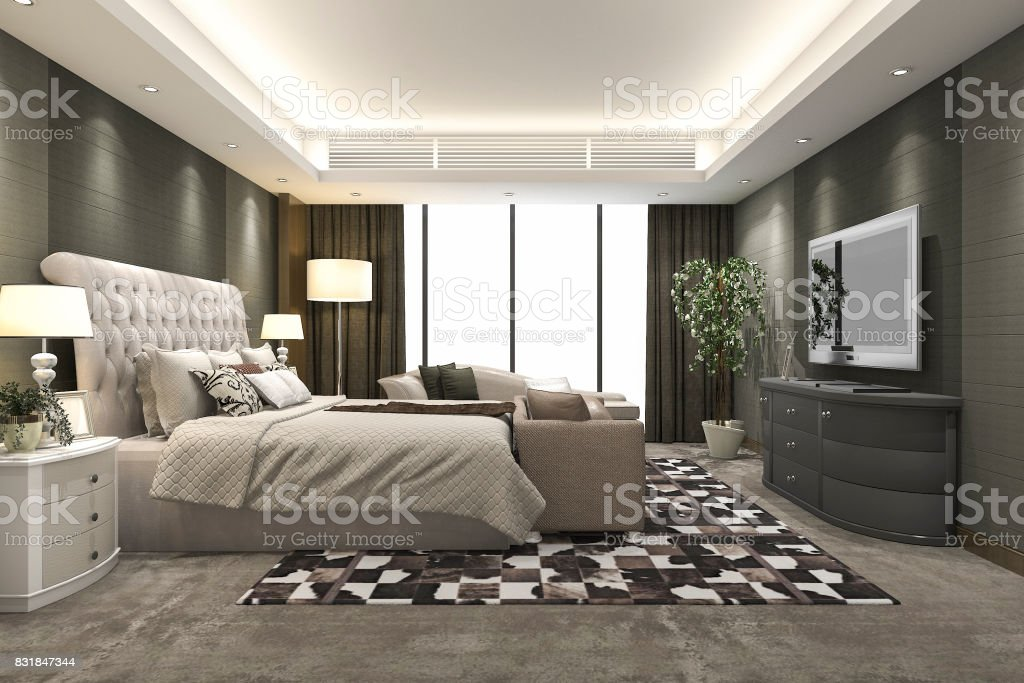 . 3d Rendering Luxury Modern Bedroom Suite In Hotel Stock Photo   Download  Image Now