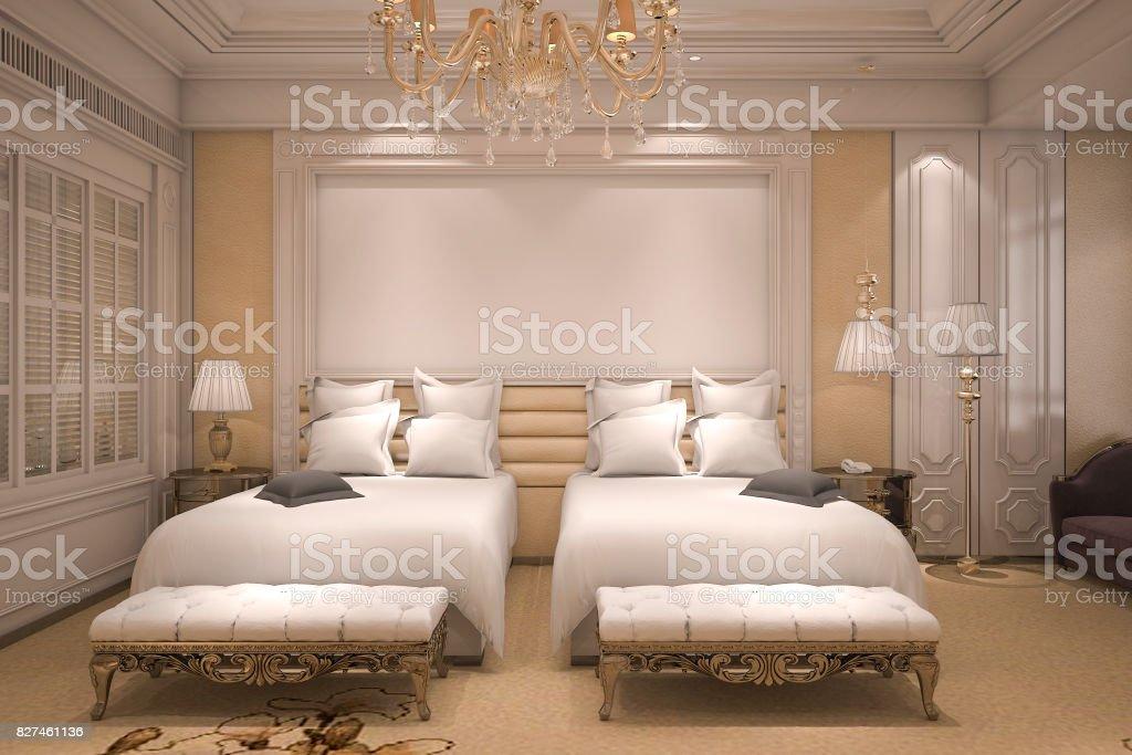 . 3d Rendering Luxury Modern Bedroom Suite In Hotel With Golden Decor