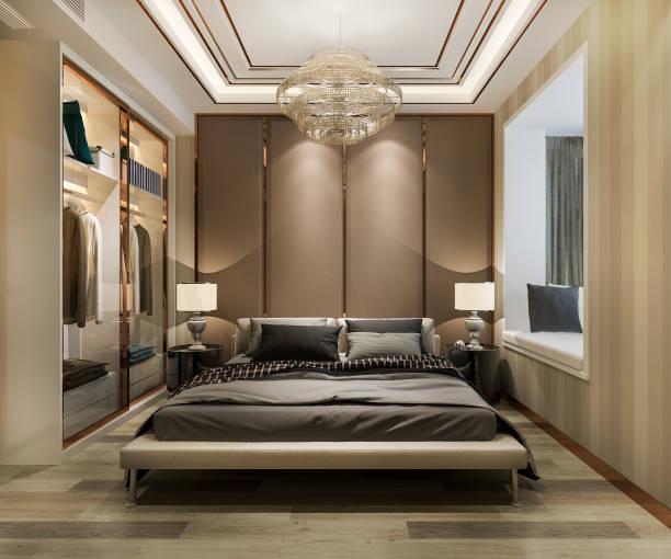 3d Rendering Luxus moderne Schlafzimmer Suite im Hotel mit Kleiderschrank und begehbaren Schrank – Foto