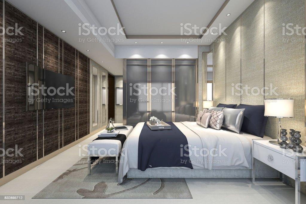 Klassieke Luxe Inloopkast : D rendering luxe moderne slaapkamer suite in hotel met garderobe