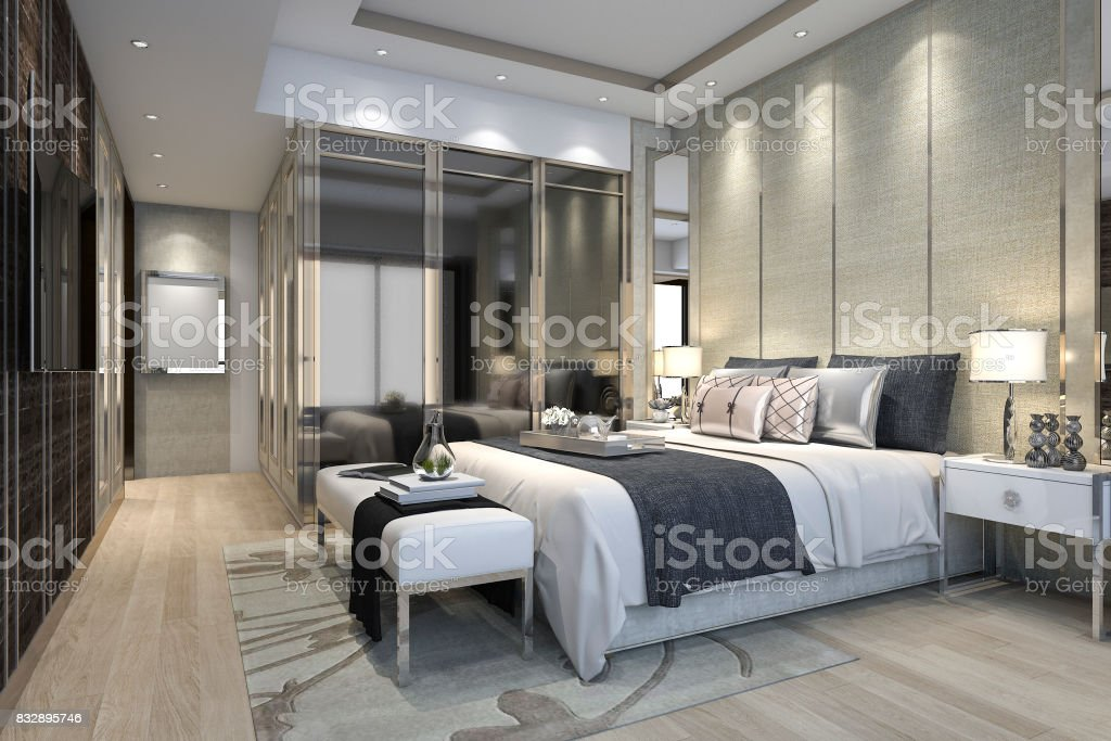. 3d Rendering Luxury Modern Bedroom Suite In Hotel With Wardrobe And