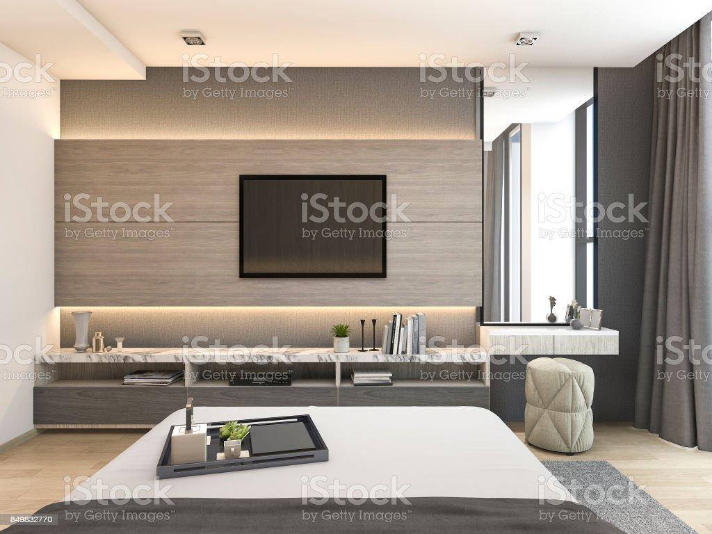 D rendering luxe moderne slaapkamer suite in hotel met garderobe