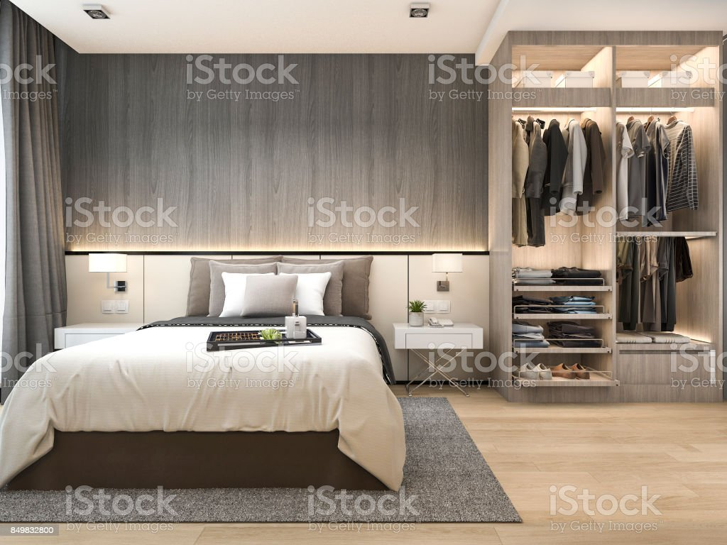 . 3d Rendering Luxury Modern Bedroom Suite In Hotel With Wardrobe And Walk In  Closet Stock Photo   Download Image Now