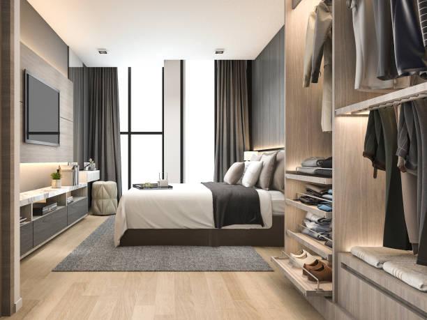 3D Rendering Luxus modernen Schlafzimmersuite im Hotel mit Kleiderschrank und begehbaren Kleiderschrank – Foto