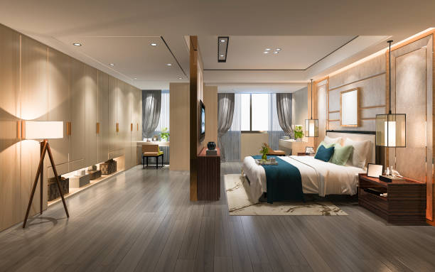 3d rendering luxury modern bedroom suite tv with wardrobe and walk in closet 3d rendering interior and exterior design luxury hotel room stock pictures, royalty-free photos & images