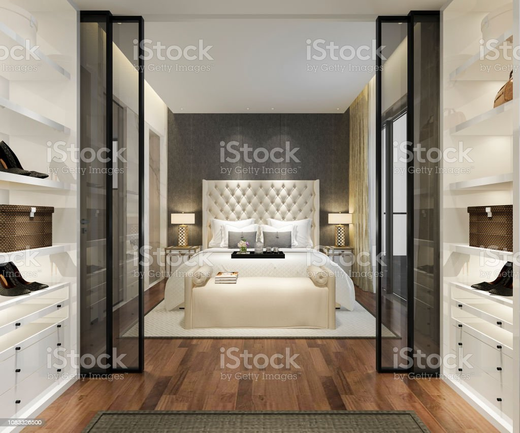 . 3d Rendering Luxury Modern Bedroom Suite Tv With Wardrobe And Walk In  Closet Stock Photo   Download Image Now