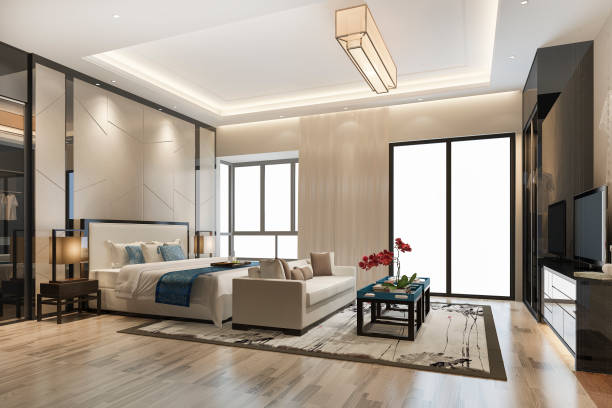 3d Rendering Luxus moderne Schlafzimmer Suite TV mit Kleiderschrank und begehbaren Schrank – Foto