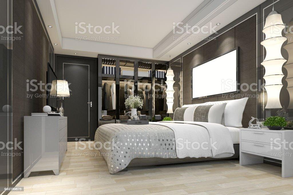 3d Rendering Luxus Modernen Schlafzimmersuite Tv Schrank Mit Einem Begehbaren Kleiderschrank Stockfoto Und Mehr Bilder Von Architektur Istock