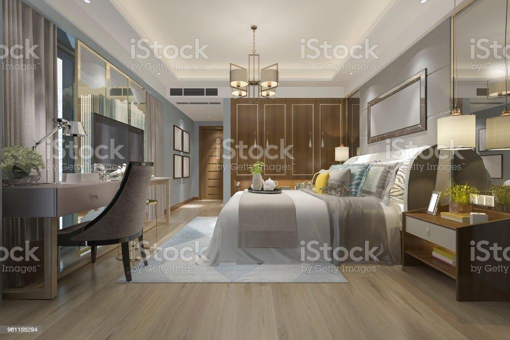 Chambre Luxe De Bois Coffret Photo 3d Stock Avec Moderne En ...