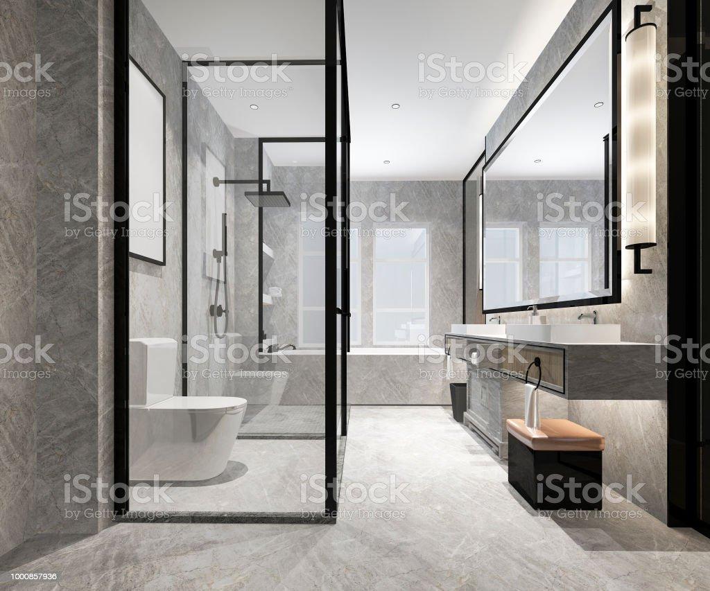 3d Rendering Luxury Modern Design Bathroom And Toilet Stock Photo Download Image Now Istock