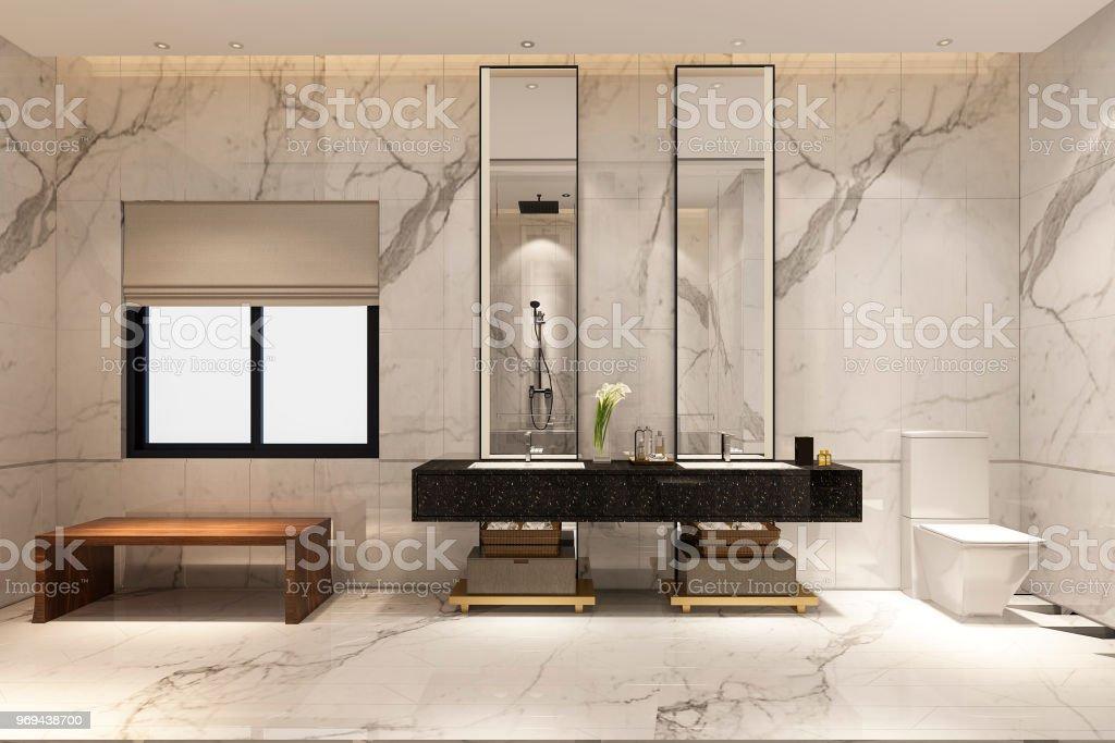 3d Renderingluxusmodernes Designbadezimmer Und Wc Stockfoto und mehr Bilder  von Architektur