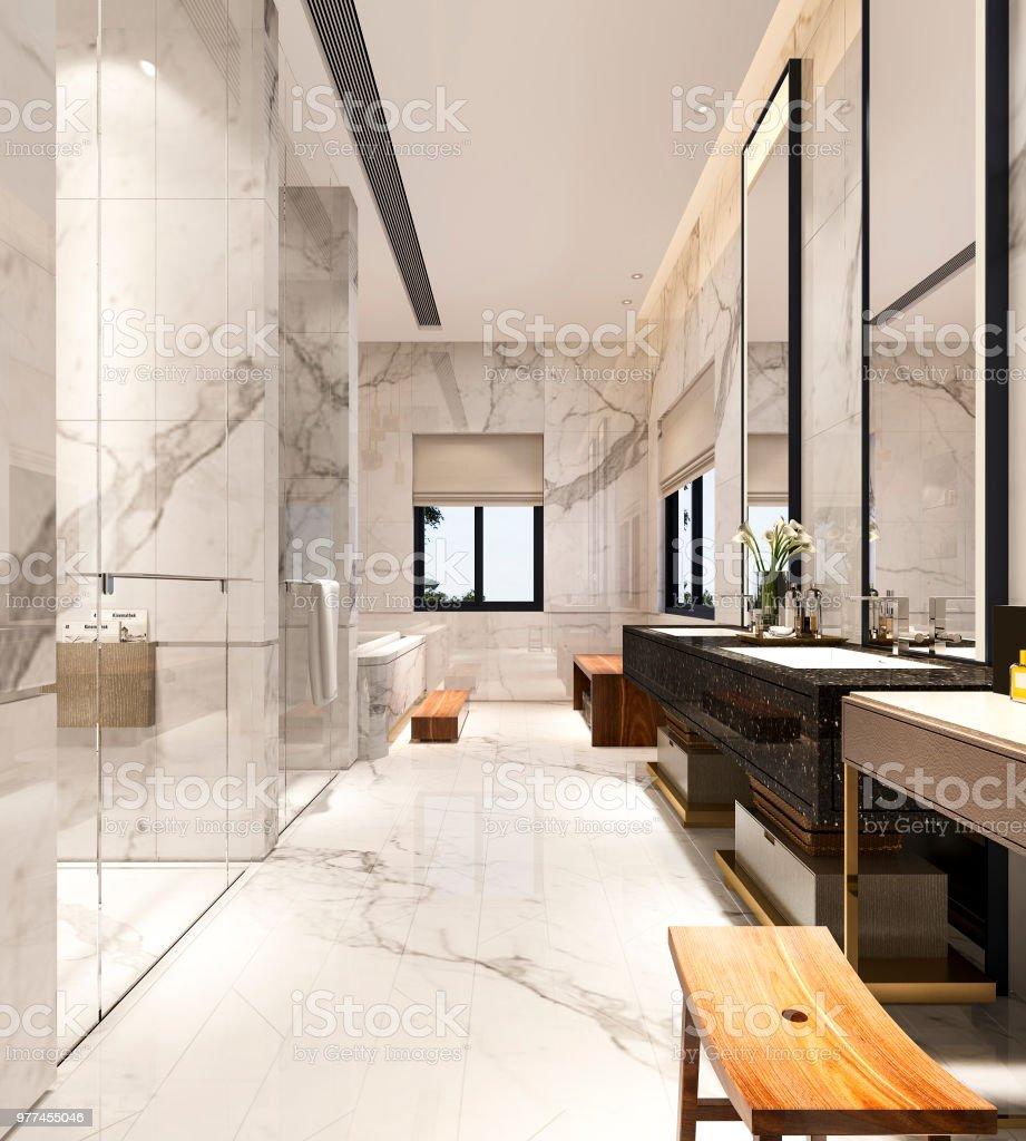 Photo libre de droit de Luxe De Rendu 3d Moderne Design Salle De ...