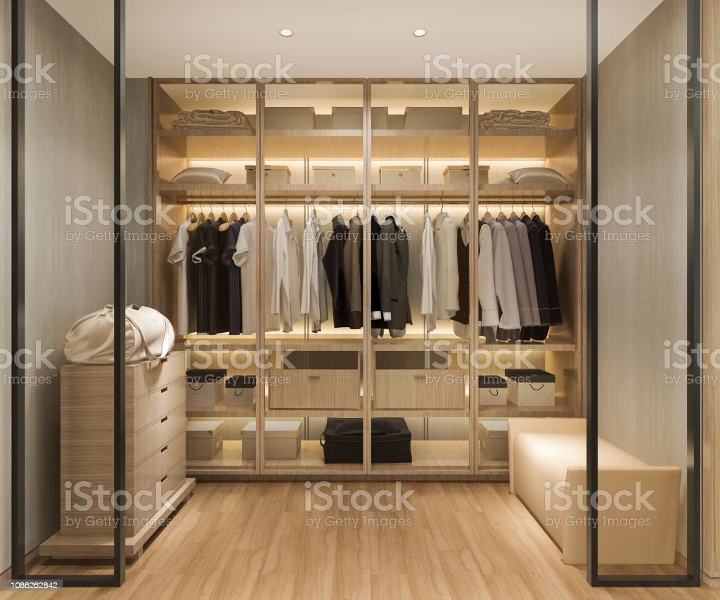 3D rendering luxe Scandinavisch hout walk in closet met garderobe - Royalty-free Architectuur Stockfoto