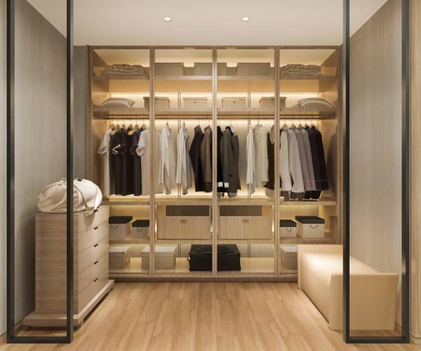 3d rendering luxus skandinavisches holz gehen in schrank mit garderobe - kleiderschrank ohne türen stock-fotos und bilder
