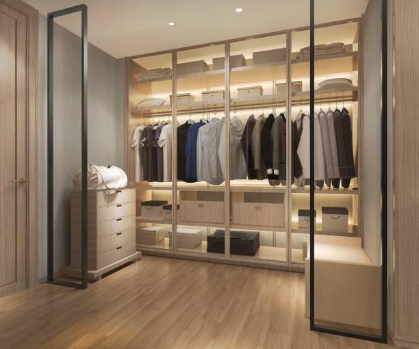 3D Rendering Luxus skandinavisches Holz gehen in Schrank mit Garderobe – Foto