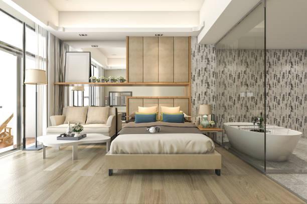 3d rendering luxus suite hotelzimmer mit badewanne und theke bar - badewannenkissen stock-fotos und bilder
