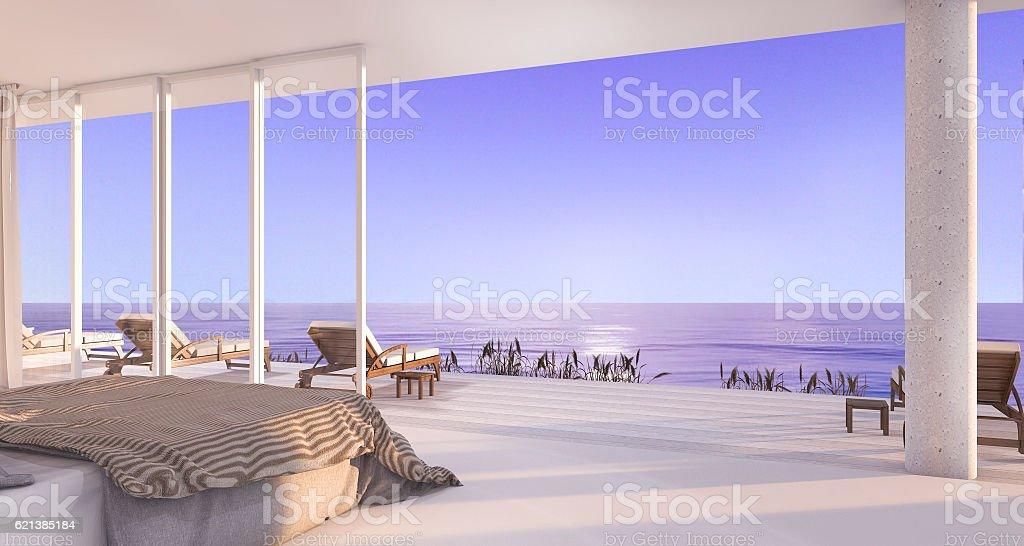 3d rendering luxury villa bedroom near beach in evening stock photo
