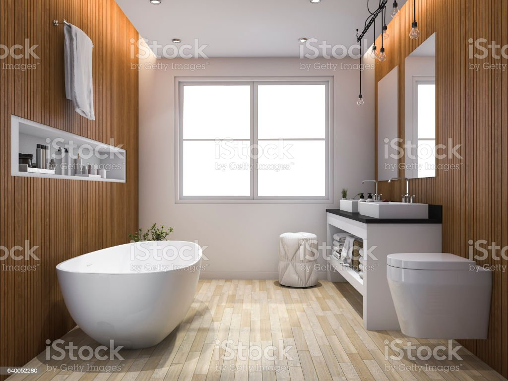3d rendering luxury wood style bathroom and toilet stock pho