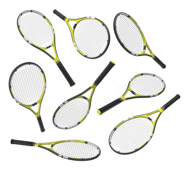3d rendering many identical tennis racquets hanging at different angles on white background. stock photo