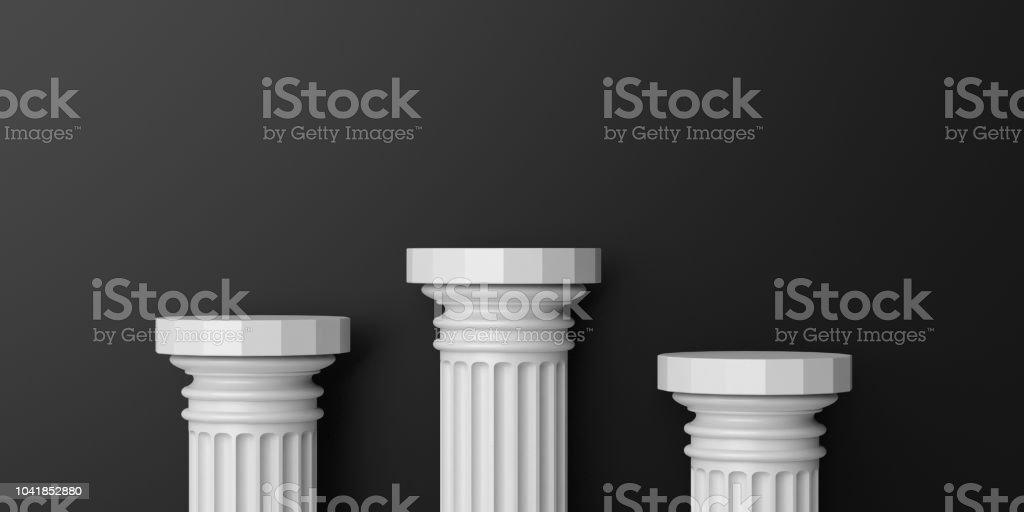 3d rendering marble columns podium stock photo