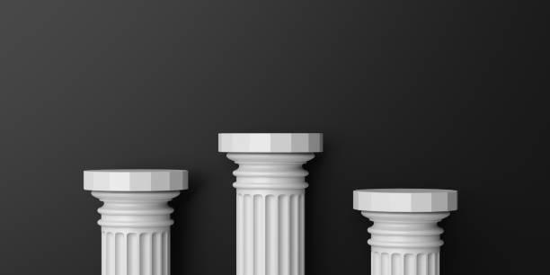 pódio de colunas de mármore de renderização 3d - três objetos - fotografias e filmes do acervo