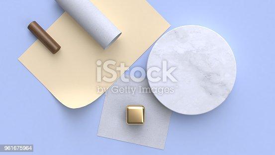 950775710 istock photo 3d rendering marble paper flat lay background geometric shape minimal 961675964