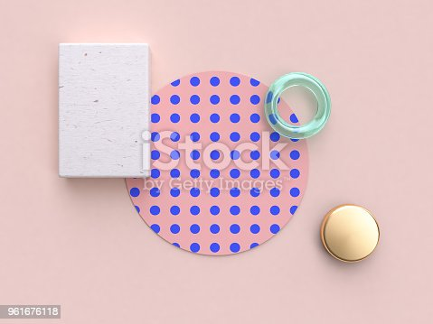 istock 3d rendering minimal abstract flat lay background pink blue pattern wood 961676118