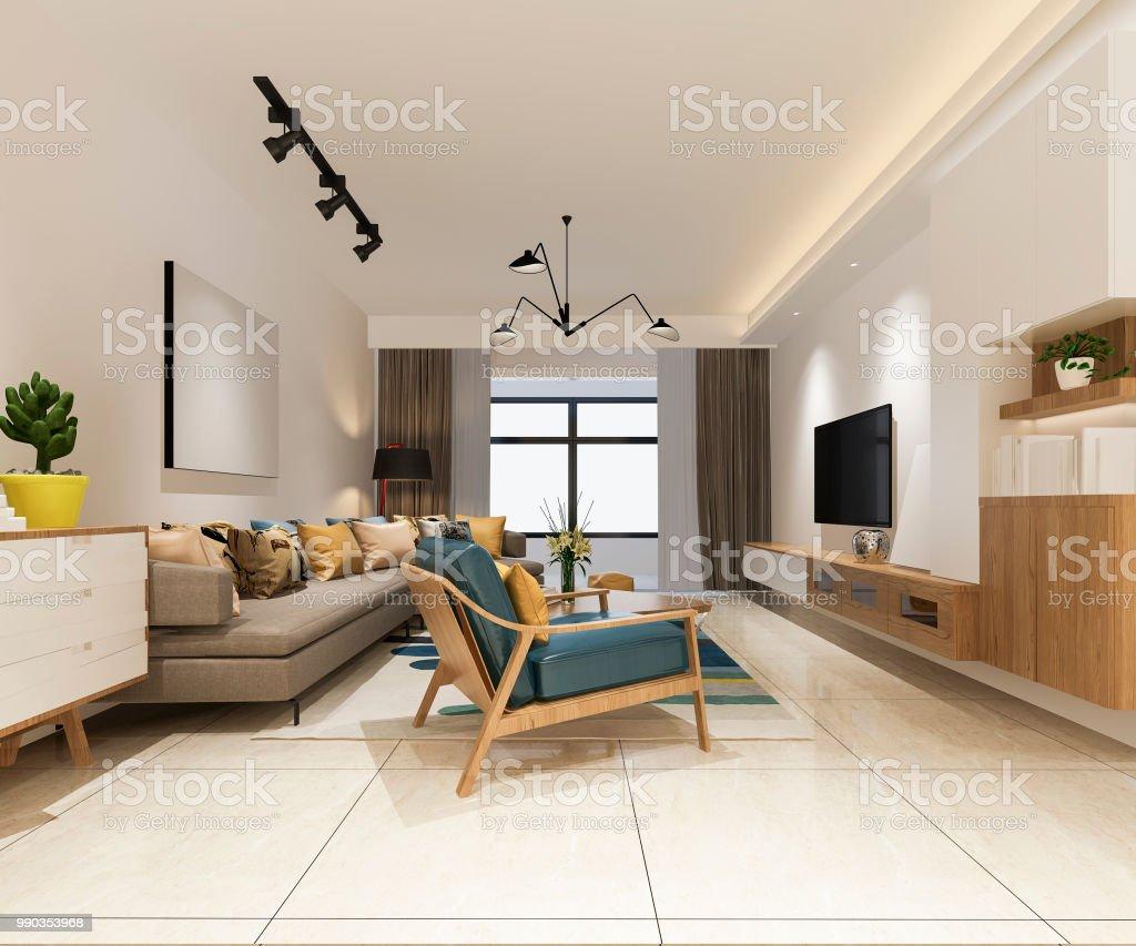 3d Rendering Minimalistische Und Moderne Wohnzimmer Mit ...