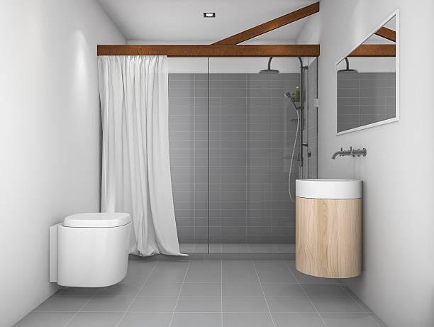 3d rendering minimal design toilet with grey tone - badewannenkissen stock-fotos und bilder