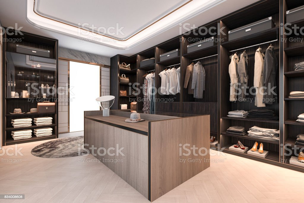 3d rendering minimal loft dark wood walk in closet with wardrobe stock photo