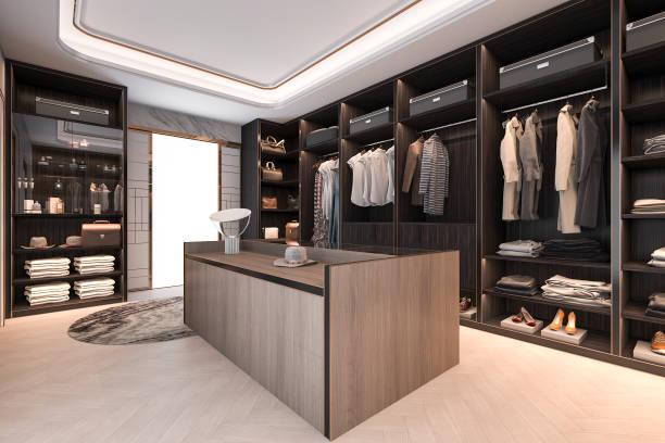 3d rendering minimal loft dunklem holz gehen in schrank mit garderobe - garderobe mit schuhschrank stock-fotos und bilder