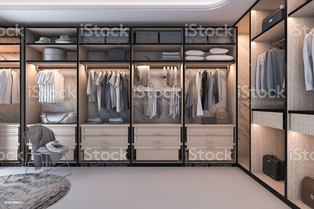 3d Rendering Minimal Loft Luxury Wood Walk In Closet With Wardrobe  Royalty Free Stock Photo
