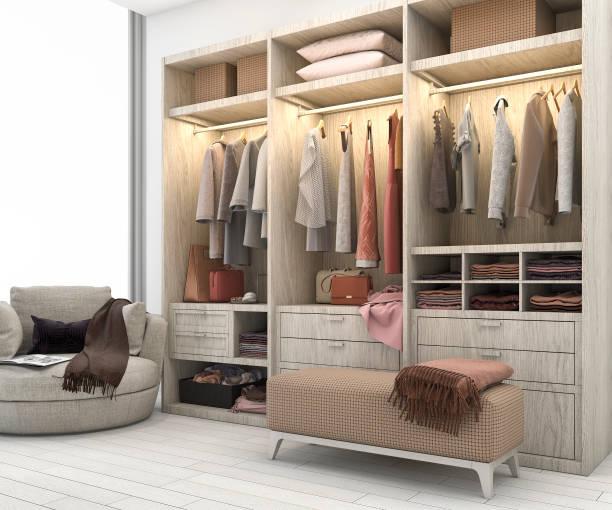 3d rendering minimal scandinavian wood walk in closet with wardrobe - closet stock photos and pictures
