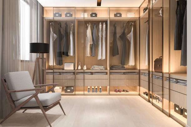 3d rendering minimal skandinavisches holz gehen in schrank mit garderobe - kleiderschrank ohne türen stock-fotos und bilder