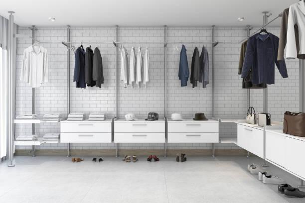 3d rendering minimale weiße ziegel gehen im schrank - garderobe mit schuhschrank stock-fotos und bilder
