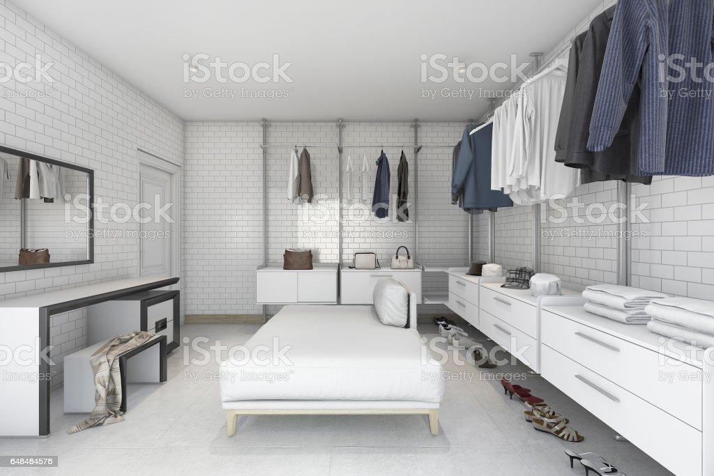 ladrillo blanco mínimo 3D de renderizado a pie en armario - foto de stock