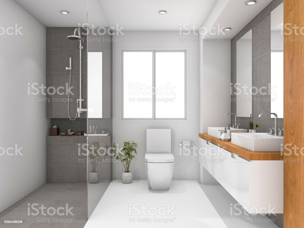 3d rendering minimal wood and stone white bathroom stock photo