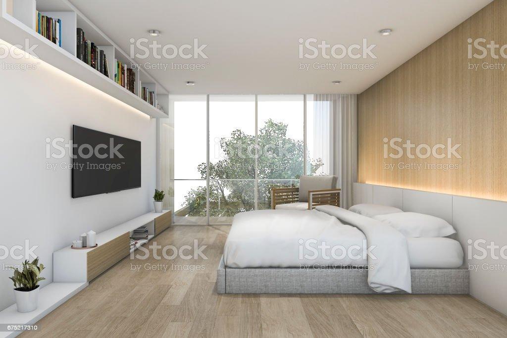 3d Rendering Minimal Holz Schlafzimmer Mit Tv Und Regal ...