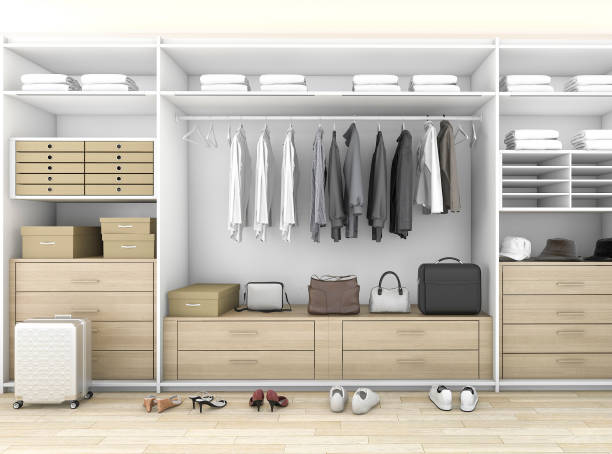 3d rendering minimal wood walk in closet with wardrobe stock photo
