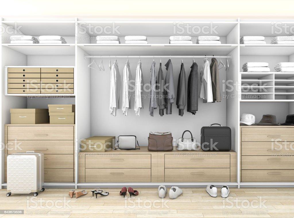 3d Rendering Minimal Wood Walk In Closet With Wardrobe Stock Photo