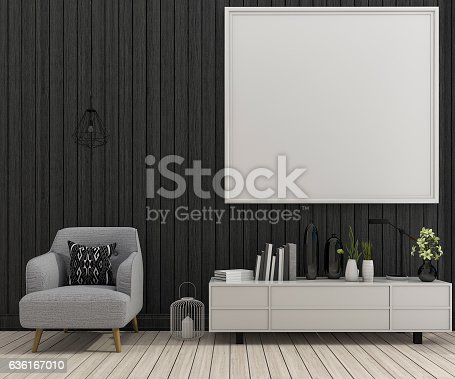 istock 3d rendering mock up frame in living room with armchair 636167010
