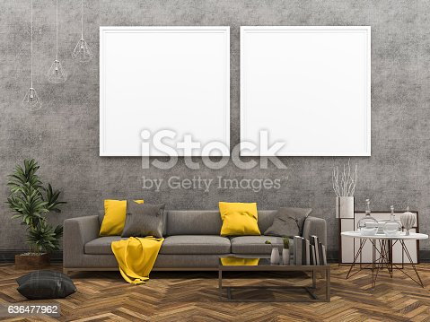 istock 3d rendering mock up frame with beautiful yellow sofa 636477962