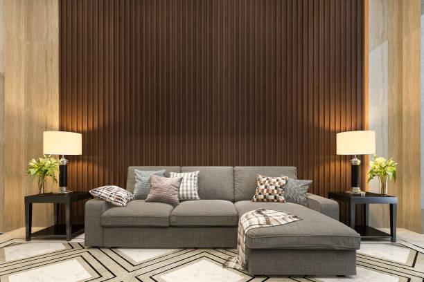 3d Rendering Mock-up-Holz-Dekor im Wohnzimmer mit Sofa klassischen Stil – Foto