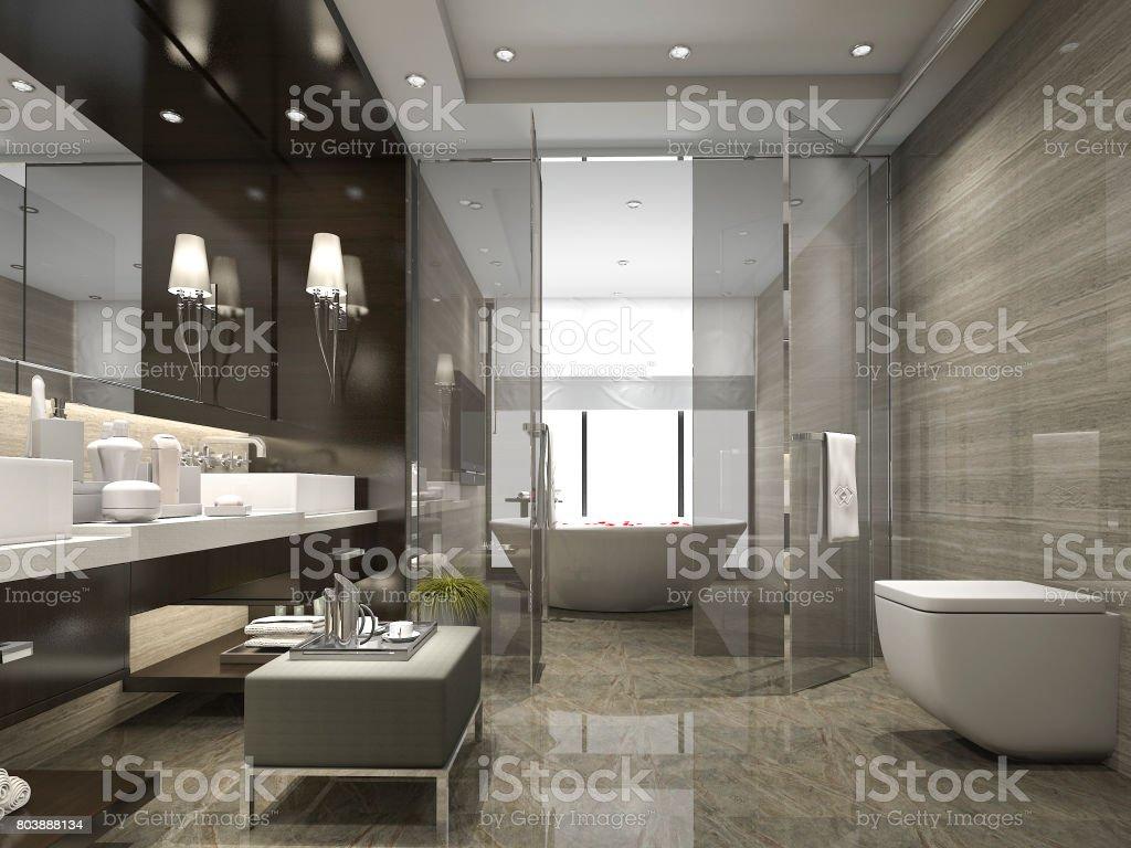 3d Rendering Moderne Und Luxusbadezimmer Und Toilette Stockfoto und ...