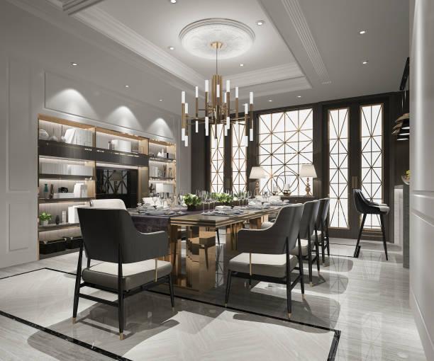 3d rendering modern and luxury dining room with tv - żyrandol sprzęt oświetleniowy zdjęcia i obrazy z banku zdjęć